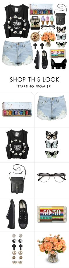"""""""Oh dear, what can I do? Baby's in Black and I'm felling blue ♫"""" by ancaarolina ❤ liked on Polyvore featuring Converse, Topshop, 1&20 Blackbirds and New Growth Designs"""