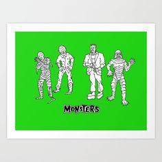 Universal Monsters GREEN Edition Art   Run of 100  Print by Christopher Chouinard - $20.00