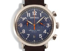 Shinola Runwell Chronograph 41MM Stainless Steel Watch, Featuring a Blue Dial, Dark Coffee Leather Strap and Quartz Movement