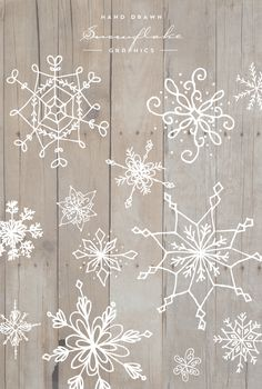 Hand Drawn Snowflake Graphics - Designs By Miss Mandee                                                                                                                                                                                 More