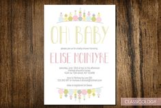 Bunting Baby Shower Invitations  Printable Digital by Classicology, $15.00