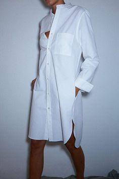 Classic long dress shirt to wear in multple ways.