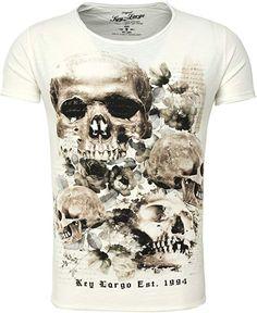 4c95c6fb7234fd Key Largo Herren T-Shirt PRIME Totenkopf Rosen Vintage Look Sommershirt  weiß M  Amazon.de  Bekleidung