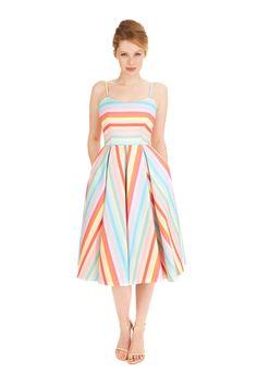 Priscilla Candy Stripe Midi Dress