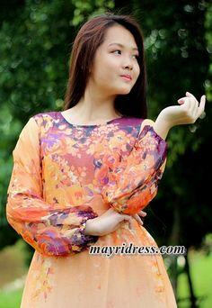 Maxi Dress Long Sleeves Orange Dress Chiffon Casual Dress Dress Summer Sundress Beach