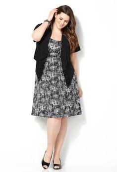 Ruffled Jacket Dress-Plus Size Jacket Dress-Avenue
