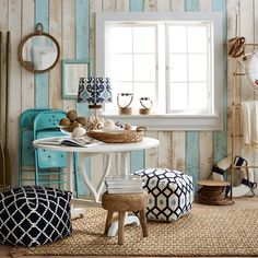 Coastal inspiration—just add a few key pieces in a mix of blues & textures.