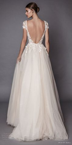 muse berta fall 2017 bridal cap sleeves deep plunging v neck heavily embellished bodice lace tulle skirt high side slit romantic sexy a line wedding dress open low back sweep train (antonia) bv