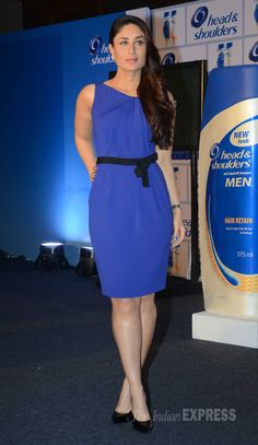Kareena Kapoor opted for a blue Paule Ka dress with basic pointed pumps at an event by 'Head & Shoulders'.