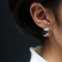 clear ball earring