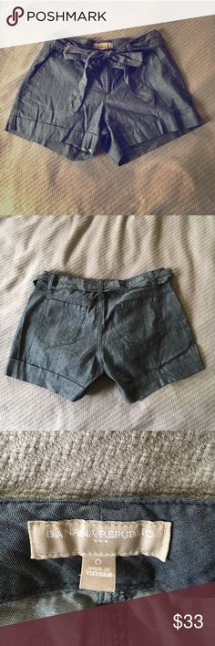 Banana Republic shorts Worn once! Adorable Banana Republic shorts with tie. They make your booty look amazing, while keeping it classy. 🍑👌 Banana Republic Shorts