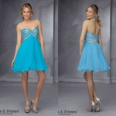 2014 Hot Sale Spaghetti Straps A-line Homecoming Dresses With Crystal Bodice Organza Above Knee Sexy Backless Women Clothing  $137.99