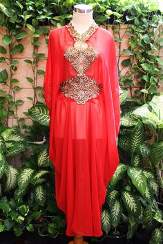 Red chiffon caftan with gold embroidery