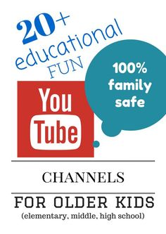 20+ Educational FUN Learning YouTube Channels for Older Kids (elementary, middle & high school) - GREAT tween and teen options. Some are for kids by kids too - my fav! Good reference for tech in the classroom if your school allows YouTube.