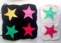 5 point star granny square try out. Crochet Star Blanket, Crochet Star Patterns, Crochet Stars, Granny Square Crochet Pattern, Love Crochet, Crochet Granny, Crochet Motif, Diy Crochet, Crochet Flowers