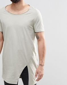 Super Longline T-Shirt With Split Hem With Raw Finish And Scoop Neck In Gray a14beb736