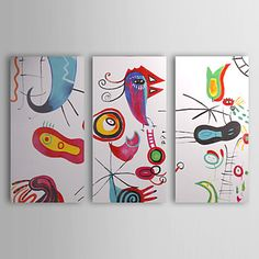 Hand-painted Abstract Oil Painting with Stretched Frame - Set of 3 – USD $ 159.99