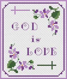 GOD IS LOVE free cross stitch pattern