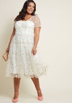 ab658a583cf Collectif x MC Rosette Radiance A-Line Dress in Ivory. Plus Size Festival  DressesWedding ...