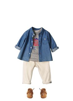 Bonpoint Summer 2015: Julio shirt Ink T-shirt Light Grey Marl Pixie trousers Chalk Tipib baby shoes Brown