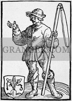 'GERMANY: PEASANT WAR, 1525.  A rebellious peasant. Broadside woodcut, 1525.'