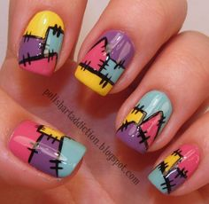 Stich Nails. Yellow. Purple. Light Blue. Pink. Nail Art. Fashion.