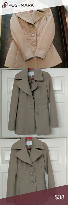 Jessica Simpson peacoat Light tan/grey medium length , 3 button peacoat. Got some pics in different lighting but more true to the cover photo. Light tan greyish in color. Like new condition, no tears,no stains, worn a few times. 2 deep pockets on the side.  Selling, too small for me. Jessica Simpson Jackets & Coats Pea Coats