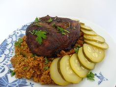 Czary w kuchni- prosto, smacznie, spektakularnie.: Karkówka w sosie teriyaki z miodem z kaszą kuskus Steak, Beef, Meat, Steaks