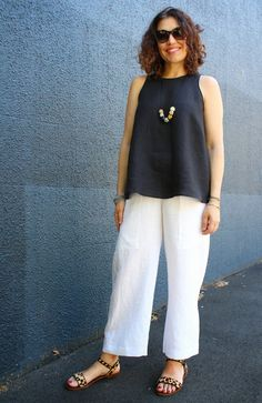 Tessuti Fabrics - black linen Ruby top worn with white linen Robbie pants