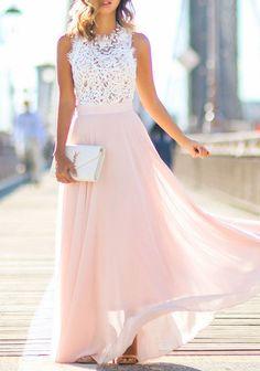 Sleeveless Lace Chiffon Maxi Dress | Shop Womens Fashion Clothes at ZNU.com