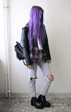 White top with check shirt, leather jacket, black bag, ripped denim jeans & boots by aliencreature