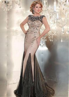Marvelous Tulle Bateau Neckline Mermaid Evening Dresses with Beadings & Rhinestones