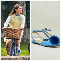Anthropologie - Cleo B - Blue Pon Pon Sandals  ASO - Me Before You - Emilia Clarke