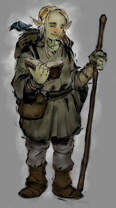 m Halfling Monk staff crow traveler Firbolg