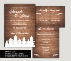 DIY Wedding invitation template SUITE - Woodland wedding - forest and woodgrain - Instant Download - WORD editable text - by redlinecs on Etsy