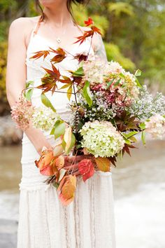 incredible fall bouquet // photo by ThreePhotographers.com // flowers by Story Farms #fallweddings #weddingbouquets http://ruffledblog.com/galleries/bohemian-nouveau-wedding/?nggpage=10&pid=76569