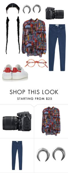 """""""Untitled #239"""" by ughunf ❤ liked on Polyvore featuring Nikon, GUESS, MANGO and adidas Originals"""