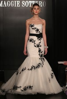 Maggie Sottero mermaid black and white wedding gown