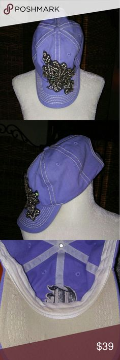 GORGEOUS CAP WITH CRYSTALS Gorgeous cap in a lilac color with crystals one size fits all with velcro for the pony tail. Worn a couple of times. No missing crystals overall in excellent pre owned condition. boutique Accessories Hats