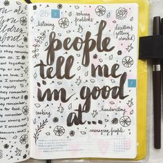 Time to toot your horn, what are the things people tell you you're good at? #journal #artjournal #hobonichi #planner #diary #notebook #filofax #mtn #midori #travelersnotebook #midoritravelersnotebook #scrapbooking #stationery #pens #doodles #doodling #type #typography #letters #lettering #handwriting #handlettering #calligraphy #moderncalligraphy #brushpens #brushlettering