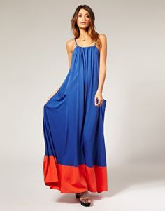 royal blue and red pocket maxi dress, asos