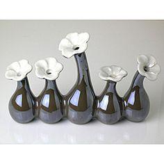 Five-in-One Pearl Brown Porcelain Flower Vase