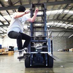 Common practice, skaters drawn to the #forklift
