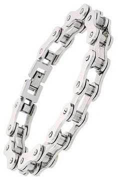 Stainless Steel Motorcycle Chain Bracelet - 8.5 inches - Available at the BikerOrNot Store. Now ON SALE. Click here ==> http://store.bikerornot.com/stainless-steel-motorcycle-chain-bracelet-8-5-inches/