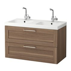 GODMORGON / ODENSVIK Sink cabinet with 2 drawers - walnut effect, 100x49x64 cm - IKEA
