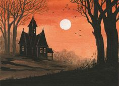 5x7 Print of Painting Halloween Folk Art RYTA Haunted House Spooky Bats Trees | eBay