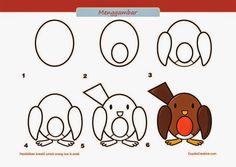 kerajinan anak SD/paud, cara & langkah menggambar burung