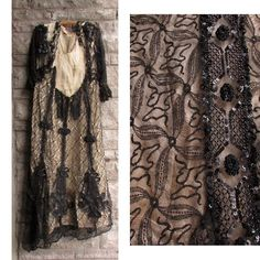 1900's // Decrepit Antique Edwardian Black Lace Gown // Downton Abbey // Theatrical Historical Period Costume