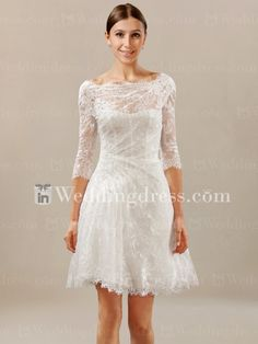 Short Lace Beach Wedding Dress with Sleeves BC738 $260. Could I get it long enough, I wonder?