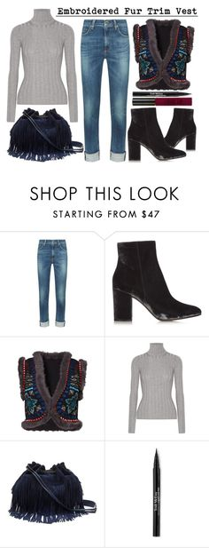 """""""Embroidered Fur Trim Vest"""" by latoyacl ❤ liked on Polyvore featuring rag & bone, Gianvito Rossi, Christophe Sauvat, Acne Studios, Diane Von Furstenberg, Trish McEvoy and Topshop"""